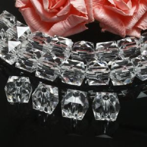 Beads, Imitation Crystal beads, Acrylic, Colourless, Faceted Cubes, 10mm x 10mm x 10mm, 18g, 40 Beads, (SLZ0546)